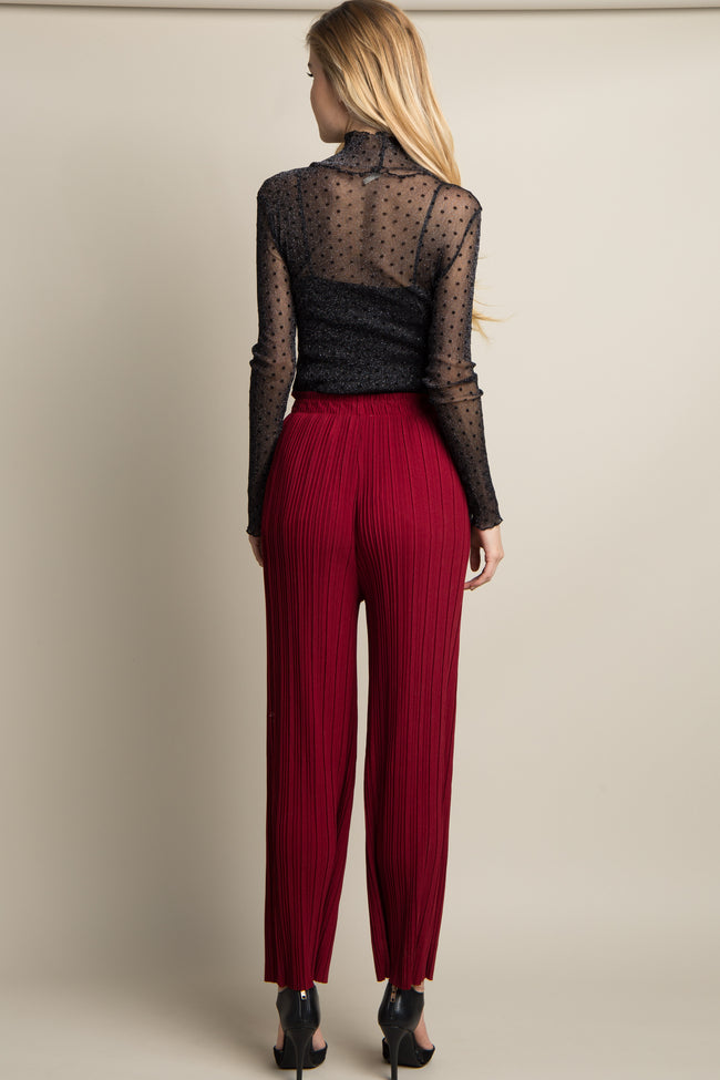 Burgundy Pleated Chiffon Pants