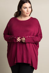 Burgundy Solid Button Dolman Sleeve Plus Maternity Top