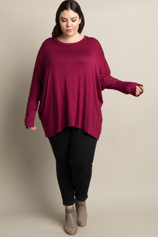 Burgundy Solid Button Dolman Sleeve Plus Top