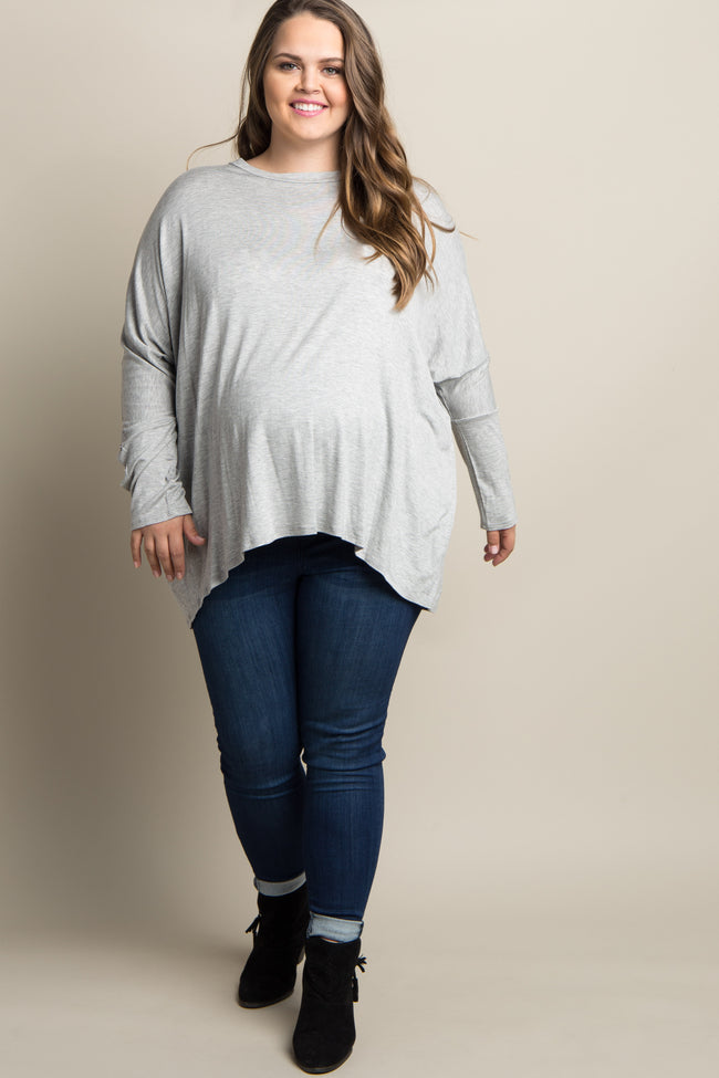Grey Button Accent Dolman Sleeve Plus Maternity Top