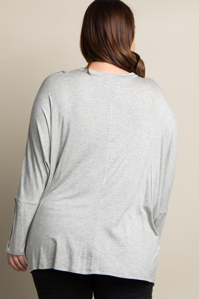 Grey Button Accent Dolman Sleeve Plus Top