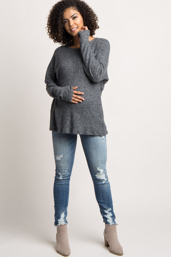 Charcoal Knot Back Soft Knit Maternity Top