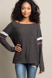 Charcoal Grey Colorblock Sleeve Wide Neck Top