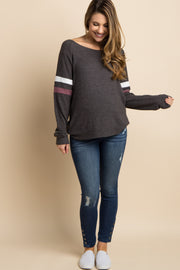 Charcoal Grey Colorblock Sleeve Wide Neck Maternity Top
