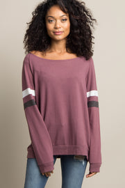 Mauve Colorblock Sleeve Wide Neck Top