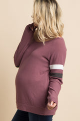 Mauve Colorblock Sleeve Wide Neck Maternity Top