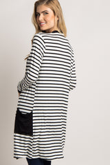 Ivory Striped Colorblock Cardigan