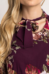 Purple Floral Tie Neck Blouse
