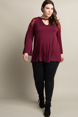 Burgundy Lace Shoulder Cutout Front Plus Top
