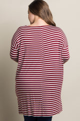 Burgundy Striped Dolman Sleeve Plus Maternity Top