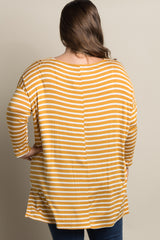Yellow Striped Dolman Sleeve Plus Maternity Top