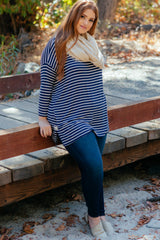 Navy Blue Striped Dolman Sleeve Plus Top