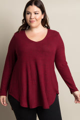Burgundy Heathered Long Sleeve Soft Knit Plus Top