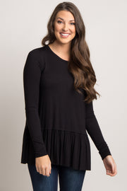 Black Solid Ruffle Trim Long Sleeve Top