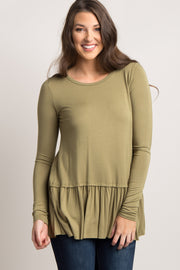 Olive Green Solid Ruffle Trim Long Sleeve Top