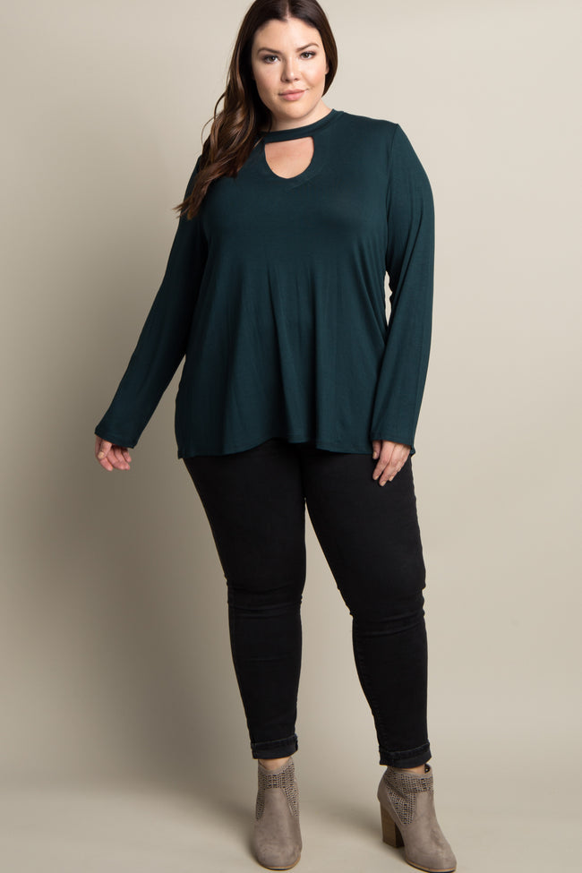 Forest Green Solid Cutout Front Plus Maternity Top