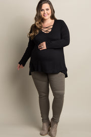 Black Solid Crisscross Knot Long Sleeve Plus Maternity Top