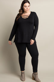 Black Solid Crisscross Knot Long Sleeve Plus Top