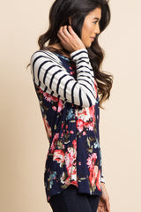 Navy Blue Floral Striped Sleeve Colorblock Top