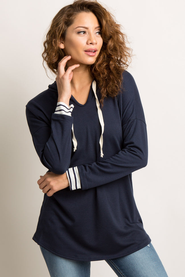 Navy Blue Hooded Striped Accent Sweater