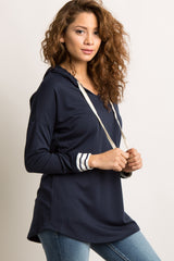 Navy Blue Hooded Striped Accent Maternity Sweater