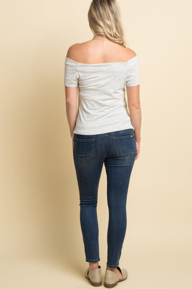 Blue Distressed Ankle Cut Maternity Jeans