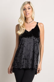 Black Crushed Velvet Scalloped Neck Strappy Top
