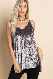 Grey Crushed Velvet Scalloped Neck Strappy Top