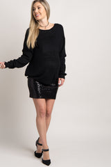Black Sequin Fitted Maternity Mini Skirt