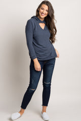 Navy Blue Hooded Cutout Front Top