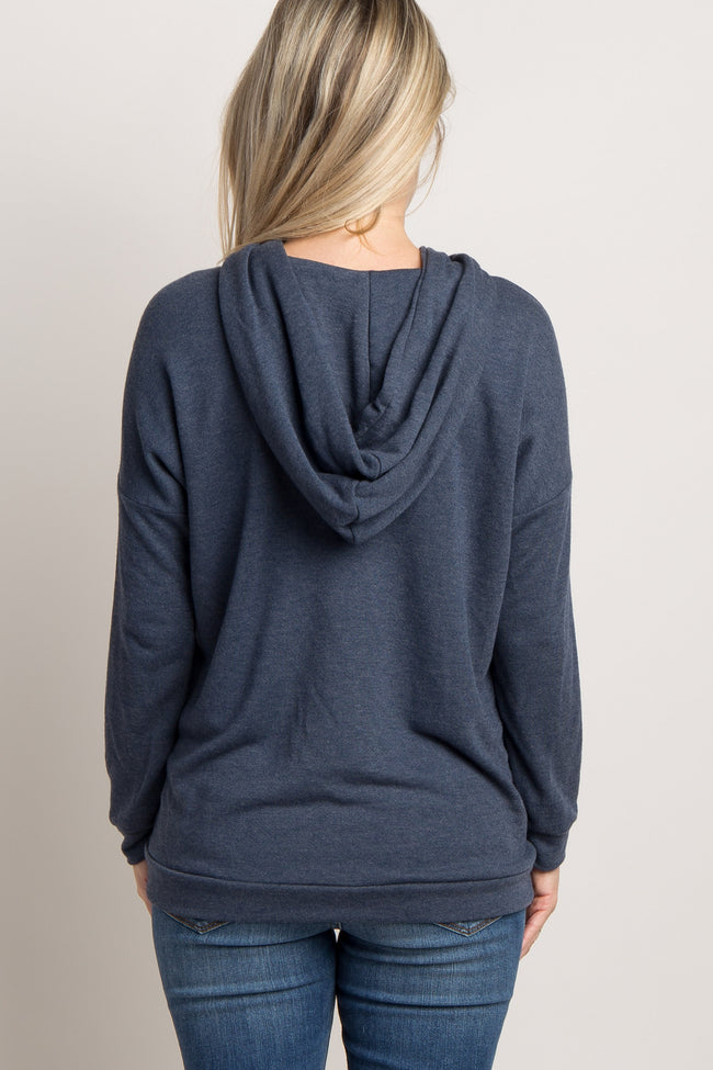 Navy Blue Hooded Cutout Front Maternity Top