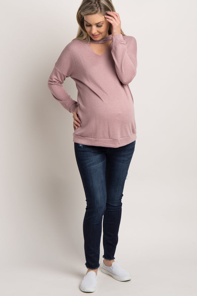 Mauve Hooded Cutout Front Maternity Top