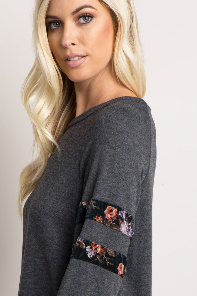 Charcoal Grey Velvet Floral Accent Sweater