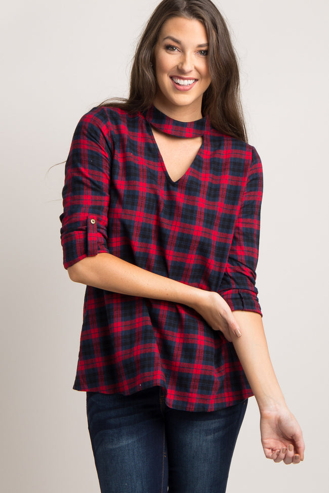 Red Plaid Cutout Front Top