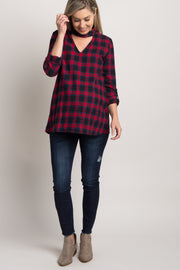 Red Plaid Cutout Front Maternity Top