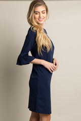 Navy Blue Solid Ruffle Sleeve Fitted Dress