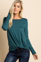 Forest Green Long Sleeve Knot Top