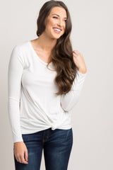 Ivory Long Sleeve Knot Top