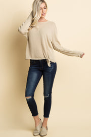 Taupe Knit Crisscross Back Front Tie Sweater