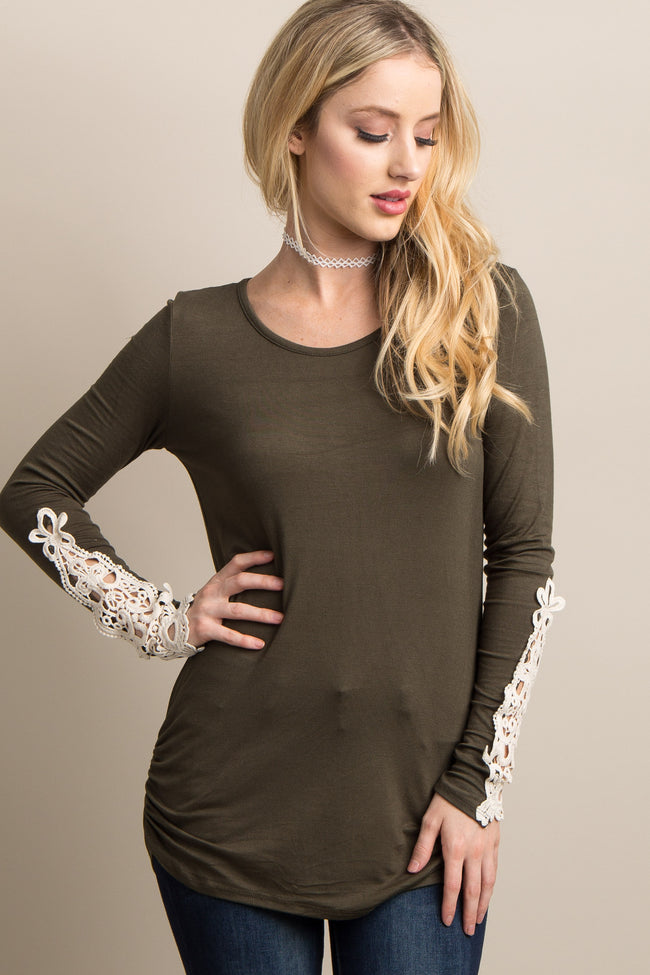 Olive Fitted Crochet Sleeve Maternity Top
