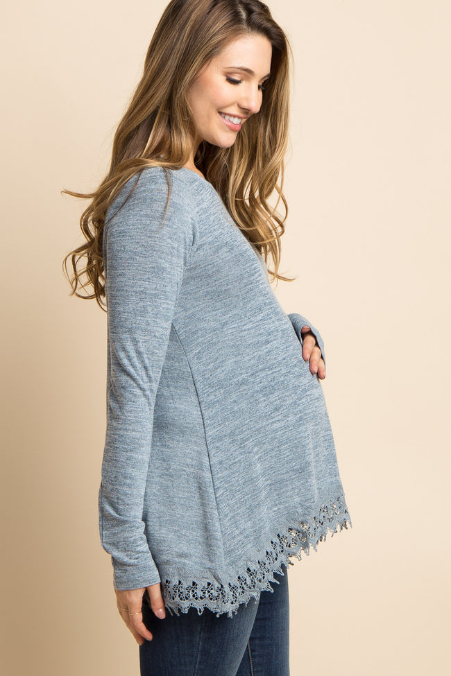 Blue Heathered Crochet Trim Maternity Top