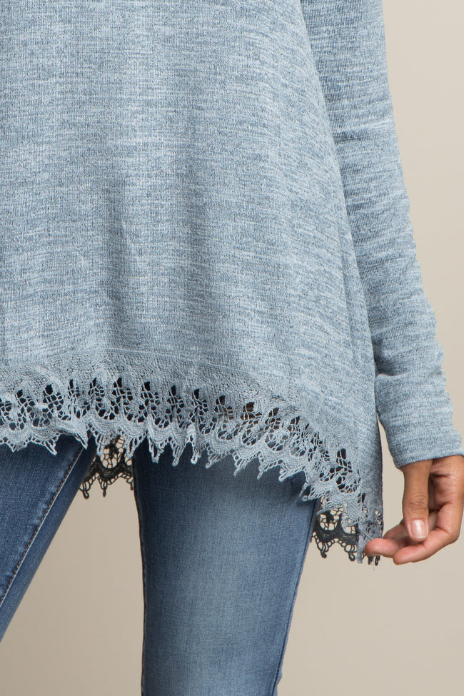 Blue Heathered Crochet Trim Top