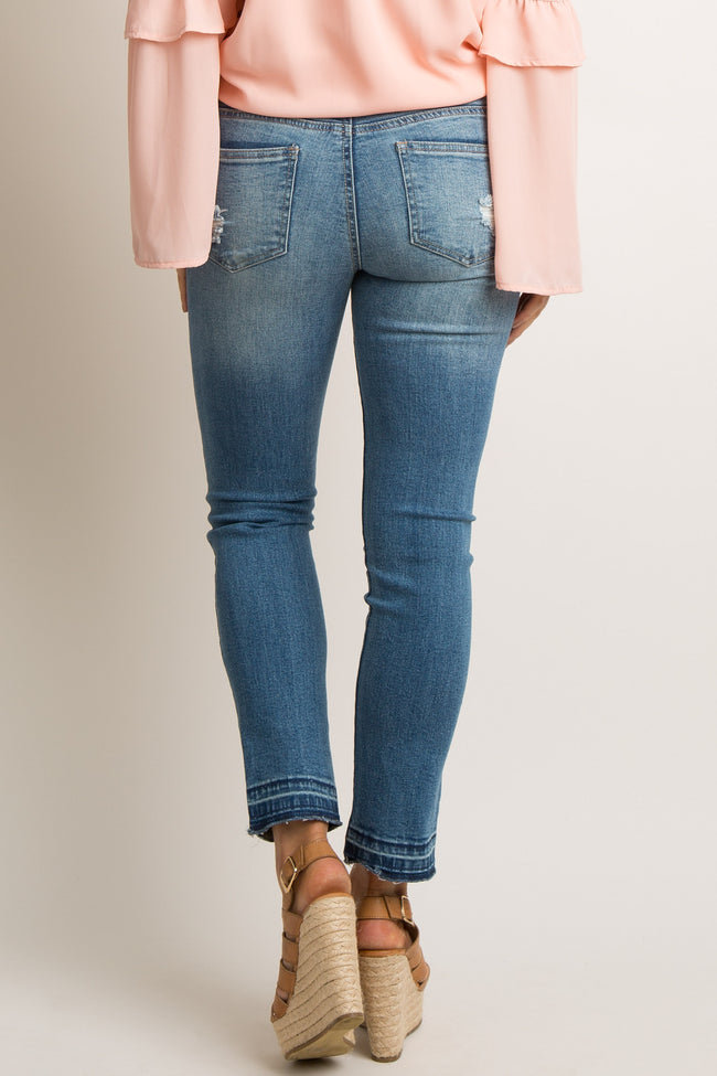 Blue Distressed Bootcut Maternity Jeans