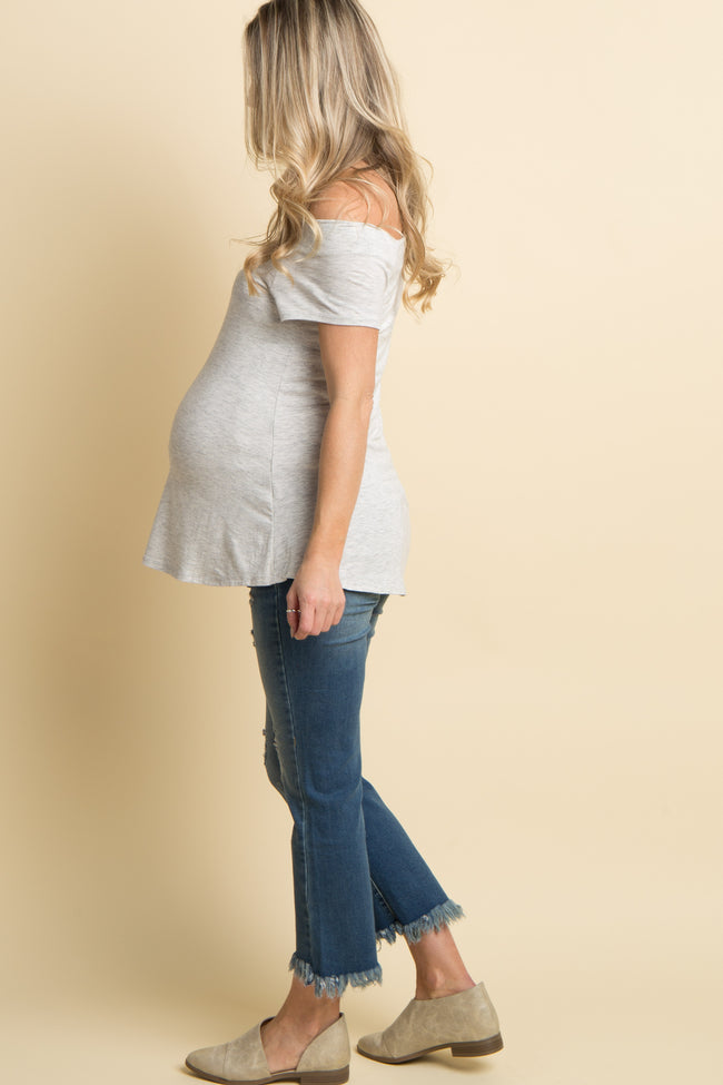 Blue Distressed Cropped Maternity Flare Jeans