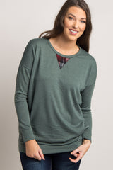 Olive Plaid Accent Maternity Sweater