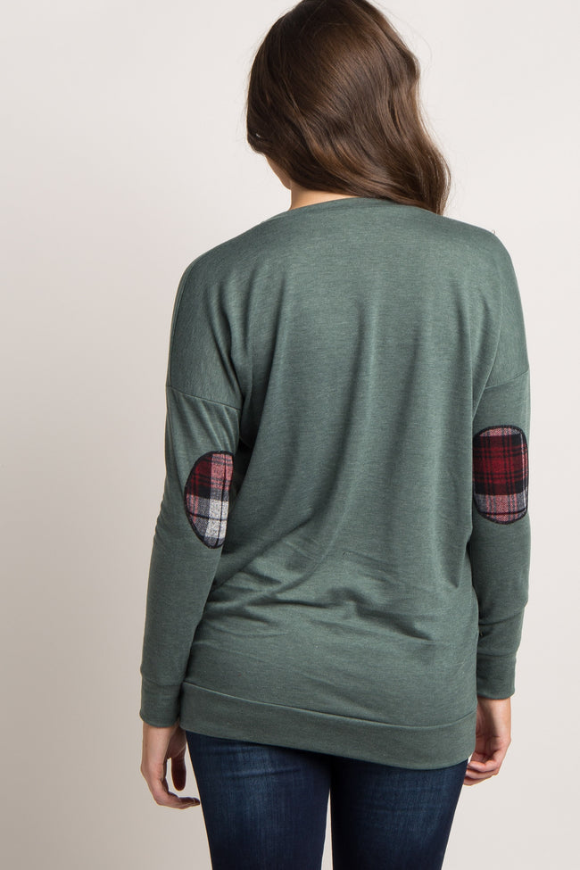 Olive Plaid Accent Sweater