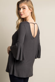 Grey T-Back Bell Sleeve Top
