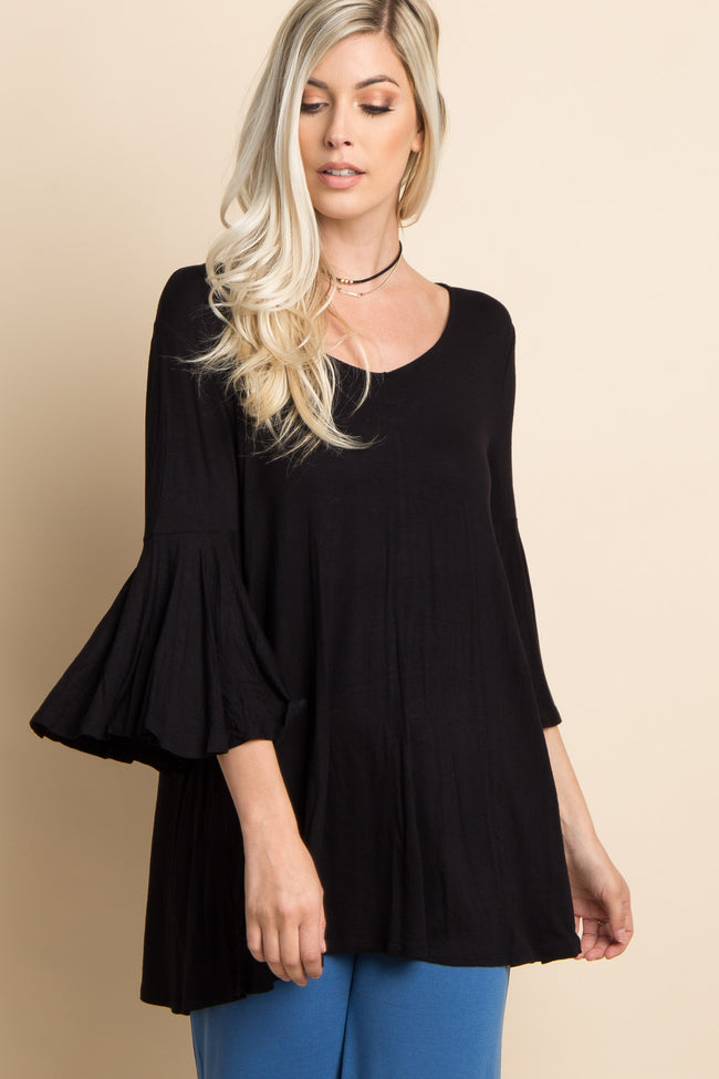 Black T-Back Bell Sleeve Maternity Top