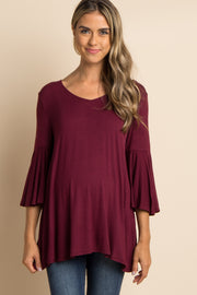 Burgundy T-Back Bell Sleeve Maternity Top