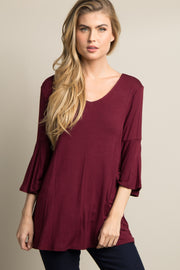 Burgundy T-Back Bell Sleeve Top